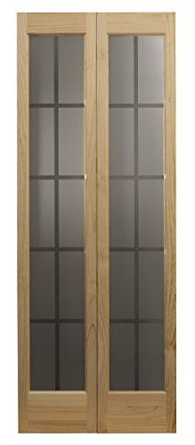LTL Home Products 837326 Mission Glass Bifold Interior Solid Wood Door, 30 Inches x 80 Inches, Unfinished Pine