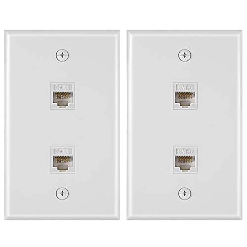 Placa de pared Ethernet de 2 puertos de 2 piezas, cat6 rj45 placa de cable de red hembra a hembra Jack en línea acoplador placa frontal (blanco..