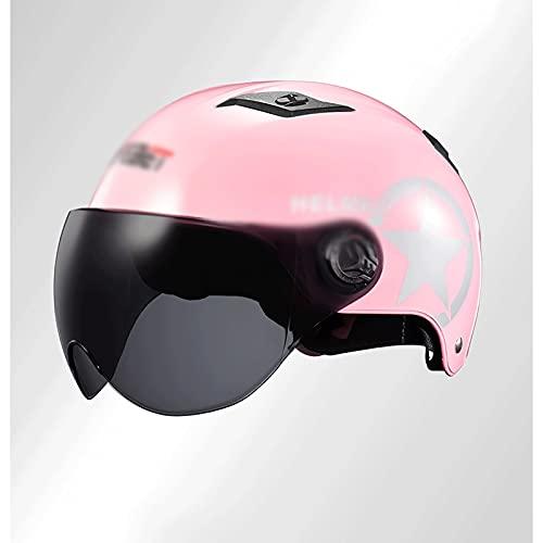 SHUTING2020 Casco de Motocicleta Motocicleta Half Casco Street Motocicleta Casco Casco Casco Adulto Casco Unisex (Color : Pink)