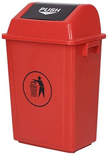 Plastic vuilnisbak met afval bin vuilnisemmer (Grote - 60 liter) (Kleur: Grijs Maat: 60 liter), Maat: 60 liter Kleur: Grijs (Color : Red)