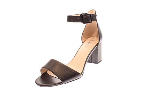 Clarks Deva Mae, Zapatos con Tacon y Correa de Tobillo para Mujer, Negro (Black Leather-), 41 EU