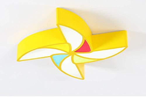 HIL LED plafond lampe de dessin animé moulin à vent forme infini gradation enfants chambre aire de jeux maternelle début de l'éducation parc lampes (jaune 50 * 8cm 24W 1168lm)