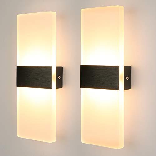 Glighone 2 Stücke 12W Wandleuchten LED Innen Modern Wandlampe Treppenhaus up and down Flurlampe LED Acryl Wandbeleuchtung für Wohnzimmer Korridor Schlafzimmer, Warmweiß [Energieklasse A++]