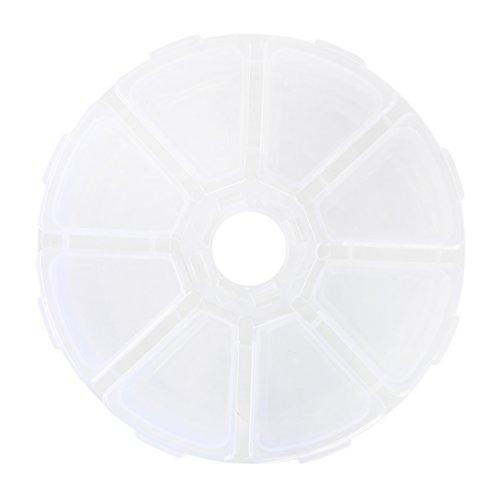 ACAMPTAR - Caja organizadora de 8 ranuras para joyas, cuentas cosméticas, redondas, transparente
