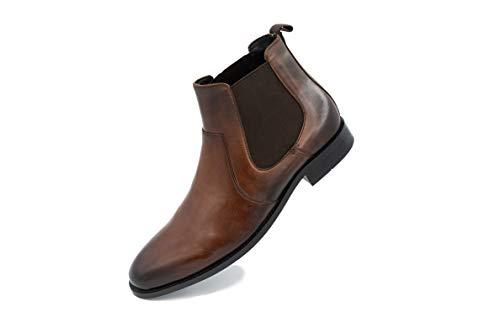 FRETZ men Sven Chelsea Boots | Lederschuhe für Herren mit seitlichen Gummiband-Einsätzen | hochwertiges Rindsleder, modisches kastanienbraun | zu Business-Anzug & Casual Outfits | Größe 43