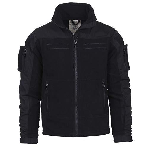 Tactical Commando Fleecejacke Security Jacke schwarz Fleece Vest Dienst #13415, Größe:L, Farbe:Schwarz