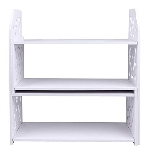 LIXBD Bibliothèque de bureau en bois, étagère de rangement, étagère de bureau, étagère de rangement, étagère de présentation, étagère d'angle de comptoir, étagères pour bureau, cuisine - Blanc