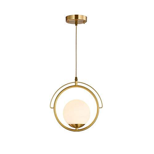 COCNI Pantalla de Cristal de latón Lámpara Colgante Simple Personalidad Creativa Cabeza única E27 Araña Sala de Estar Dormitorio Decoración Soporte Lámpara Colgante de luz