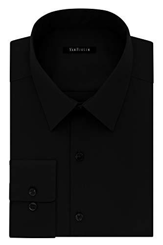 Van Heusen Men's Dress Shirt Slim Fit Flex Collar Stretch Solid, Black, 15' Neck 32'-33' Sleeve (Medium)