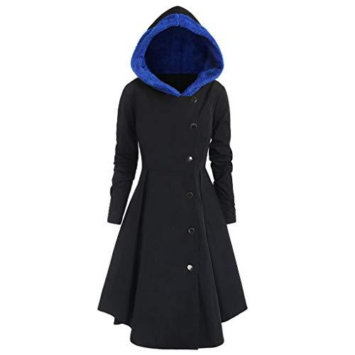 iHENGH Damen Herbst Winter Bequem Mantel Lässig Mode Jacke Frauen Plus Size Asymmetrische Fleece Mit Kapuze Einreiher Lange Drap Buttons Coat(Blau, XL)