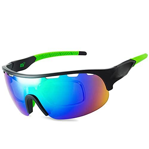 YHSW Gafas de Ciclismo,Gafas Deportivas polarizadas,conducción de esquí,Carrera de Golf,Montura Tr90 para Montar,protección UV 400,con Montura de miopía (150 * 55 mm)