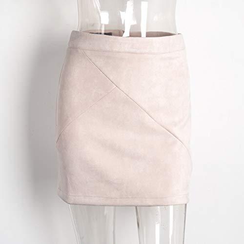 HEHEAB Falda,Rosa De Cuero Vintage Suede Lápiz Cruz Falda Falda De Cintura Alta Zipper Split Bodycon Faldas Cortas Mujeres