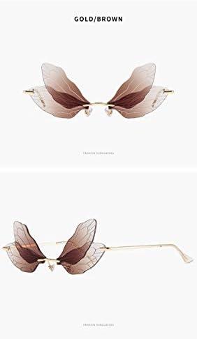 GUNM Mode Randlose Libelle Fl/ügel Sonnenbrille Frauen Vintage Clear Ocean Lens Brillen Brillen Shades UV400