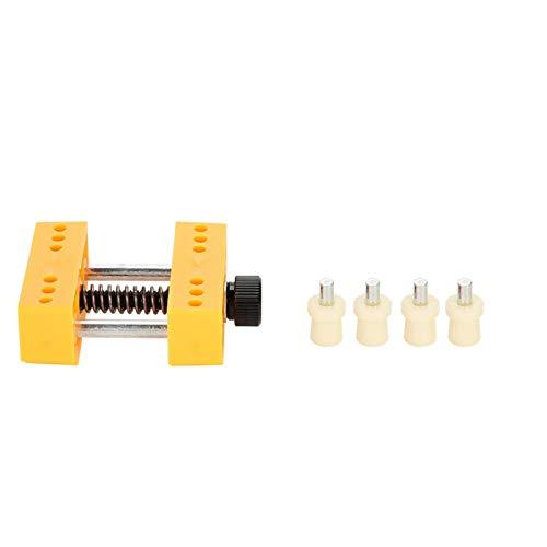 Práctica herramienta de tornillo de banco de metal y plástico para reparación de relojes, adecuada para simplificar el trabajo de reparación de relojes(Yellow)