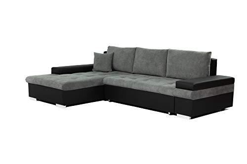 Honeypot - Sofabed - Bangkok - Corner - Large Storage - Sofa Bed - White Grey Black (Left Hand, Black/Grey)