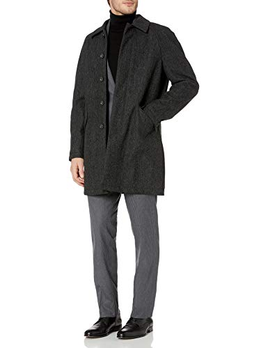 DKNY Men's Water Repellent Rain Jacket, Black Grey Herringbone, 38 Regular