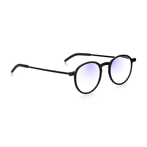 Blue Light Blocking Glasses 1.5: Read Optics Round Ultra Thin Frame Reading Glasses for Computer Screen Eye Protection. Blue Block + UV Filter + Anti Glare. Black Flat Fold 0 to 2.5. Faux Leather Case