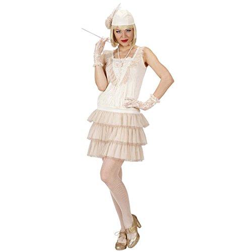 Amakando Vestido de los aos 20, 30, accesorios, M 38/40, charlestn, blanco, charlestn, disfraz de carnaval, para mujer, sexy, con charlestn, vestido de mujer, elegante, para mujer