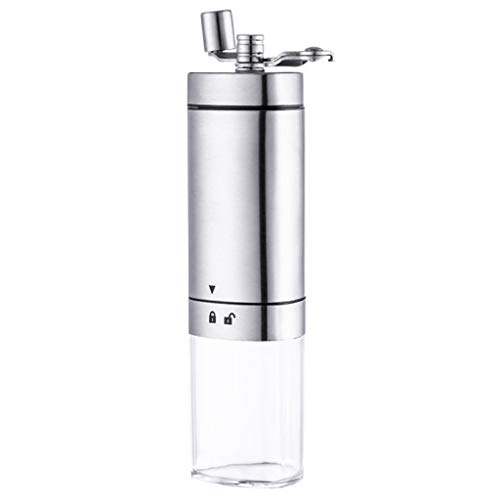 Kecar Portable Stainless Steel Manual Coffee Grinder, Whole Bean Conical Burr Mill, Kitchen,Dining & Bar, Products for Halloween Day (Silver)