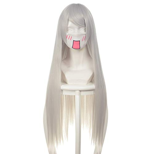 ZH NieR:Automata (A2) Game Cosplay Rose Net Wigs with Bangs Ombre Sliver-White 100% High-Temperature Resistant Fiber Long Straight Hair 40 inches