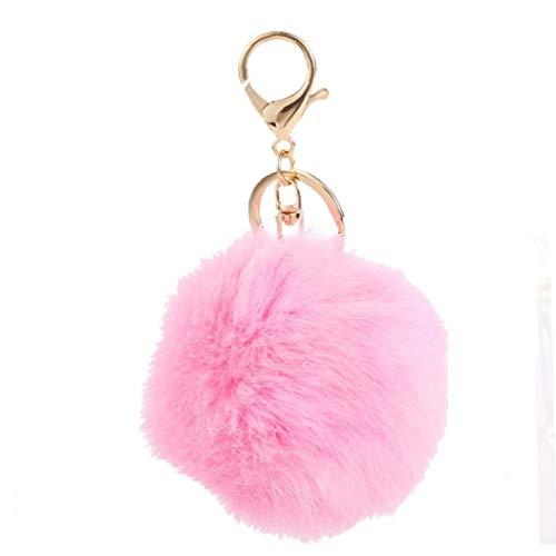 Aisoway Peluche Palla Pom Pom coniglio portachiavi borsa anello decorativo Pendente chiave dell'automobile (colore rosa)