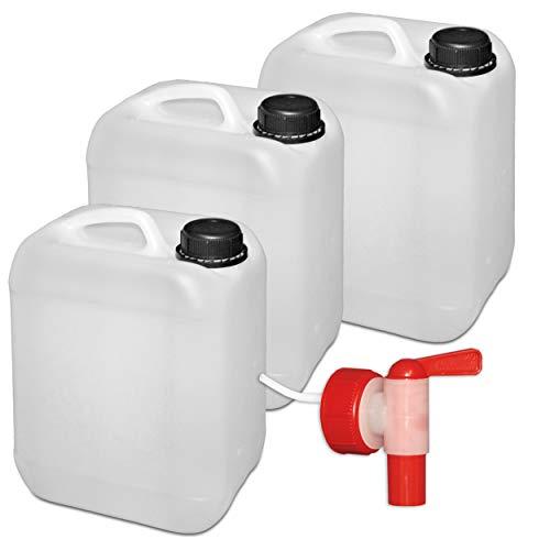 4x 5L Kanister Wasserkanister 3,73€//1Stk 1 Auslaufhahn lebensmittelecht