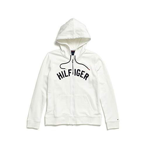 Tommy Hilfiger Damen Hoodie Sweatshirt with Magnetic Zipper Closure Kapuzenpulli, schneeweiß, Medium