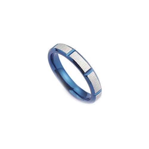 Daesar Titan Frauen Ring Titanringe Blau Matt Rund 4 MM Partnerring Ring für Beste Freunde Gr.54 (17.2)