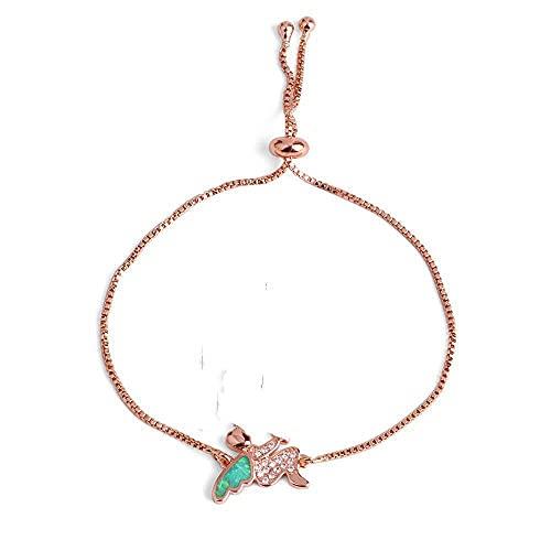 Pulsera De Cuentas Pulsera De Eslabones para Niñas Little Angel Charms Pulseras De Mujer Opal Pave Zircon Cadena De Color Dorado Joyería De Boda Regalos B