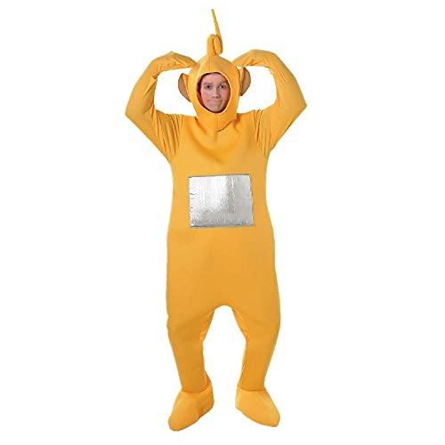 Junqin Teletubbies Disfraces para Adultos Cosplay Juegos de rol, Disfraces de Actividades para Padres e Hijos, Disfraces de muñecas de Dibujos Animados Disfraces Transparentes-Yellow||165-185cm