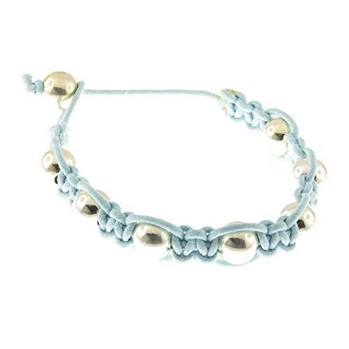 Córdoba Jewels   Pulsera en Plata de ley 925 con diseño Esferas Algodón Azul