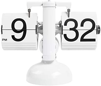 mooas Flip Desk Clock White Retro Vintage Design Auto Flip Clock Desk Clock Table Clock Large product image