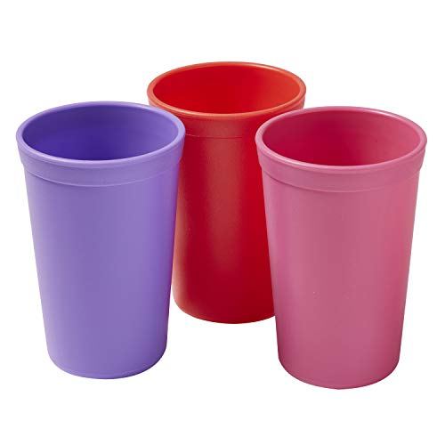 ECR4Kids ELR-18102-BE My First Meal Pal Drinking Cup – BPA-Free, Dishwasher Safe, Stackable Tumblers, Kids Cup Set for Baby, Toddler and Children - 3-Pack, Berry