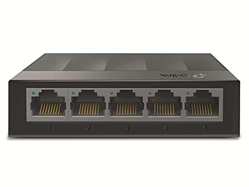 TP-Link LS1005G 5-Port Desktop Switch (5 x Gigabit Auto-Negotiation RJ45 Ports, IEEE 802.3x, Plug and Play, energiesparend, Plastikgehäuse für einfache Tisch- oder Wandmontage)schwarz