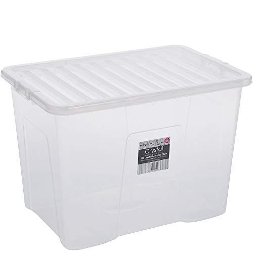 Hochwertige XXL Box mit Deckel, 80l, 60x40cm ✓ Lebensmittelecht ✓ Sicherer Clip-Verschluss ✓ Stapelbar ✓ Schadstofffrei | Transparente Transport-Kiste, Lagerbox, Aufbewahrungs-Kiste, Aufbewahrungsbox, Stapelbox, Transportbox, Plastik-Box, Kunststoff-Box