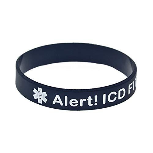 HSJ 10Pcs Advertencias Médicas Alerta ICD Pulsera De Silicona Equipada Perfectamente Inspirar Perfectamente La Aptitud, El Baloncesto, La Búsqueda De Deportes, El Ejercicio Y Las Tareas,Negro