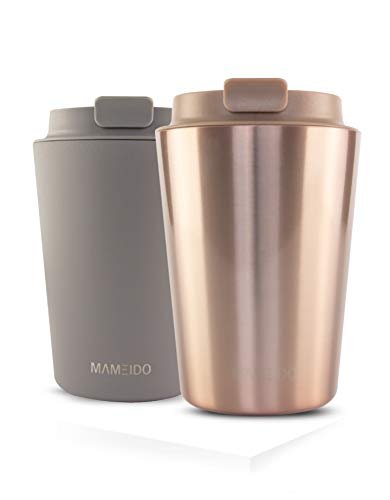 MAMEIDO Thermobecher Rosegold New 350ml 0,35l - Kaffeebecher, Edelstahl doppelwandig isoliert, auslaufsicher, Coffee to go, Kaffee & Tee Isolierbecher Travel Mug