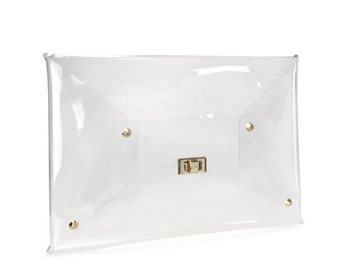 Hoxis Large Size PVC Clear Envelope Clutch Gold Chain Crossbody Bag Women's Purse (Clear)