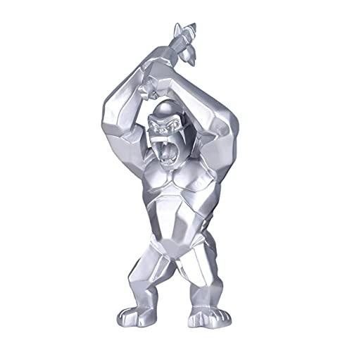 LXHJZ Adornos para Sala Estar, Estatua Creativa Gorila, estatuilla Animales, Adorno Gorila levantando un Hacha, Escultura, decoración Moderna para el hogar