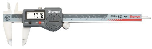 """Starrett 798B-6/150 Digital Caliper, Stainless Steel, Battery Powered, Inch/Metric, 0-6"""" Range, +/-0.001"""" Accuracy, 0.0005"""" Resolution, Meets DIN 862 Specifications"""