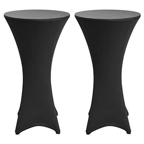 Beautissu Set de 2 Fundas elásticas para mesas Altas de pie Stella Ø 80-85 cm - Elegante egregio cobertor de Mesa en Negro