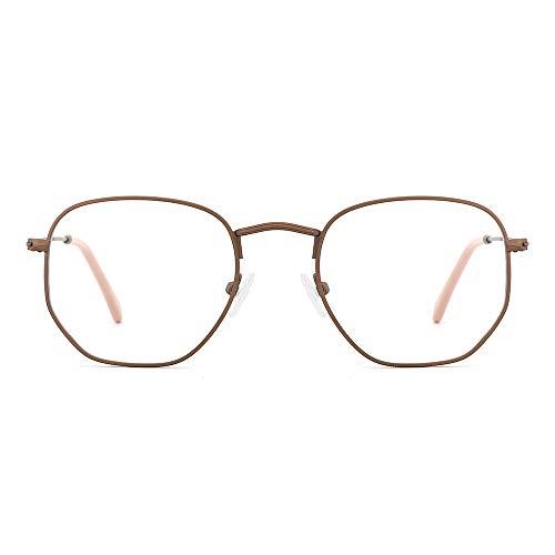 OQ Club Brillengestell aus Metall, Retro-Stil, rund, blaues Licht blockierend, für Damen und Herren Gr. 38, Bronze/Pink