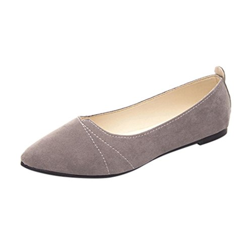 Damen Schuhe DEELIN Frauen Wohnungen Damen Bequeme Schuhe weiche Slip-On Casual Bootsschuhe (36, Grau)