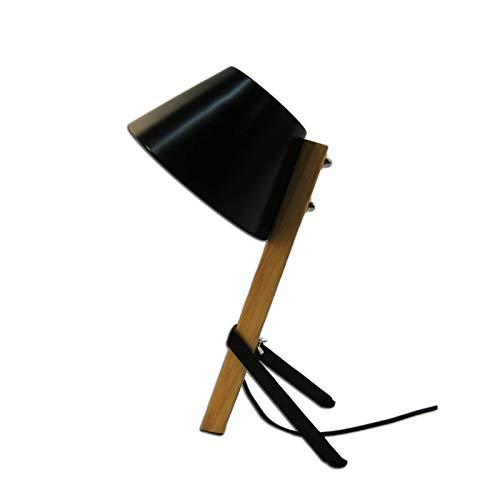 Meubletmoi Lampe de Chevet - à Poser - Archi - métal Peint Noir et Bois Massif