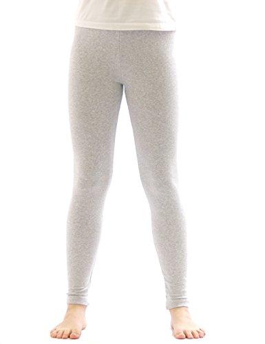 yeset Kinder Mädchen Thermo Leggings Fleece Hose lang Leggins aus Baumwolle hellgrau 158