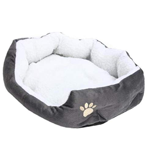 PiniceCore Lambskin Dog Paw Pattern Pet's Nest Warm Washable Bed Sleeping Fleece Basket with Cushion for Puppy Dog Cat