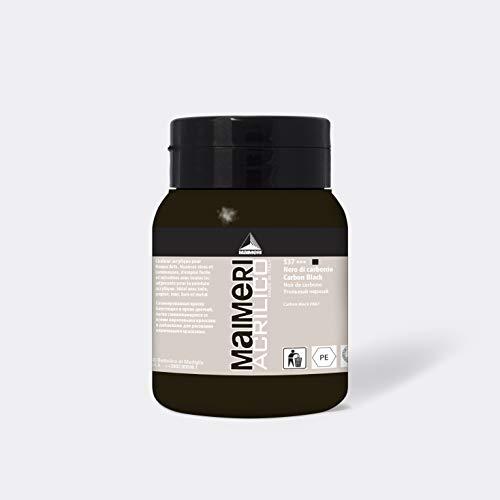 MAIMERI Acrilico 500 ml, colore acrilico fine per artisti, colore nero carbonio