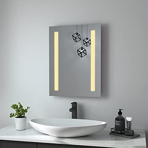 Heilmetz LED Badspiegel 45x60 cm Badezimmerspiegel mit Beleuchtung Warmweiß 3000K Lichtspiegel Badezimmer Wandspiegel IP44 Wasserdicht Energieklass A++
