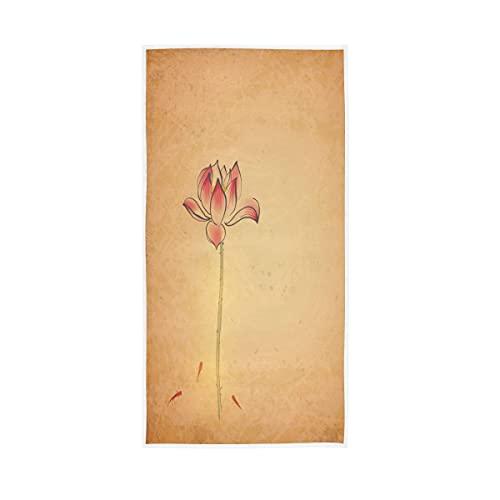HaJie Toalla de microfibra retro japonesa flor de loto toalla de mano suave para hombres y mujeres gimnasio baño, 30 x 15 pulgadas (76 x 38 cm)