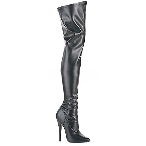 Higher-Heels PleaserUSA Overknee-Stiefel Domina-3000 Mattschwarz Gr. 42